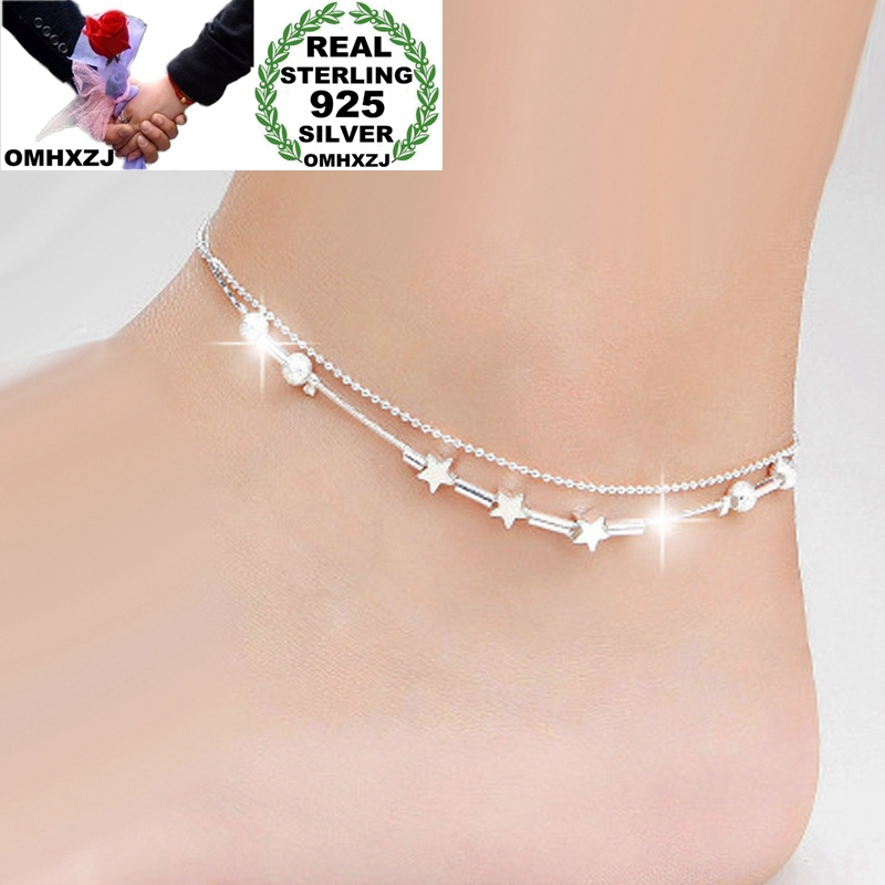 OMHXZJ Wholesale European Fashion Woman Girl Party Birthday Wedding Gift Star Beads Two Lines 925 Sterling Silver Anklet JL02