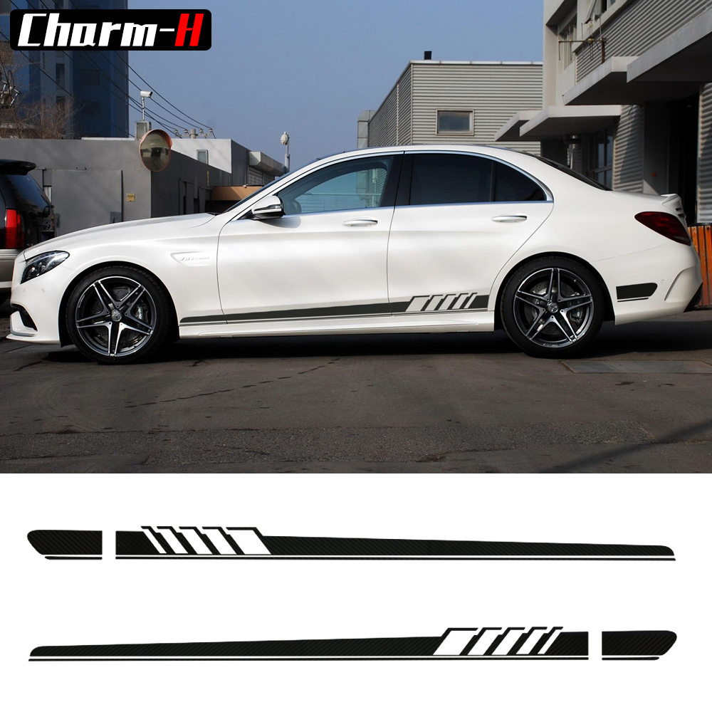 Par Edition 1 Side Stripes-klistremerke for Mercedes Benz W205 C Class C63 AMG Stickers-6 farger å velge