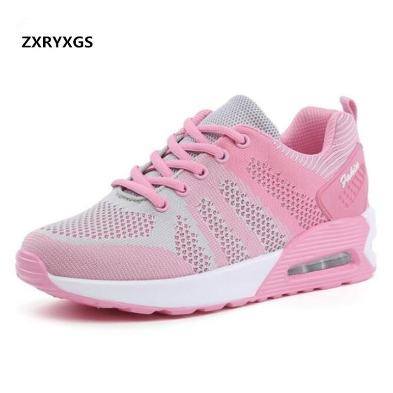 Most popular 2018 New Spring Breathable Comfortable Mesh Shoes Women Sneakers Spell Color Air Cushion Shoes Fashion Casual Shoes