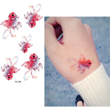 Temporary Tattoos Waterproof Tattoo Stickers Body Art Painting For Party Decoration Hand Leg Fish Red