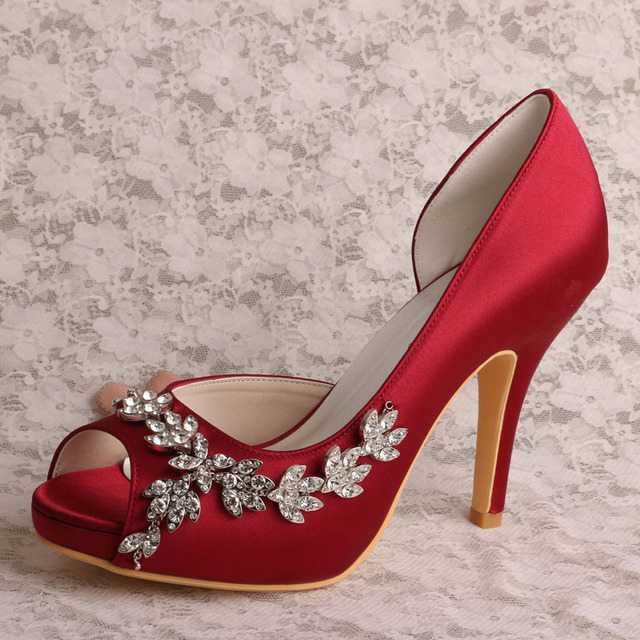 143013a8ee6 Wedopus high heels grooms wedding shoes with clips wine red satin  dropshipping jpg 640x640 Red satin