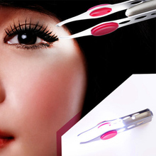 New Arrival Make Up Tools LED Light Eyelash Eyebrow Hair Removal Tweezer Face Remover Stainless Steel Tweezers
