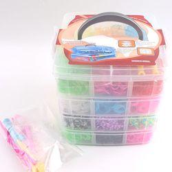 7200pc/4 warstwy gumy do bransoletek gumy silikonowej bransoletki z gumek Box zestaw rodzinny wkłady gumowe Rainbow splot DIY akcesoria zabawki