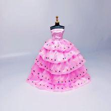 цены на Doll clothes toy princess wedding dress fashion evening party dress long skirt for 30cm 1/6 doll accessories girl gift  в интернет-магазинах
