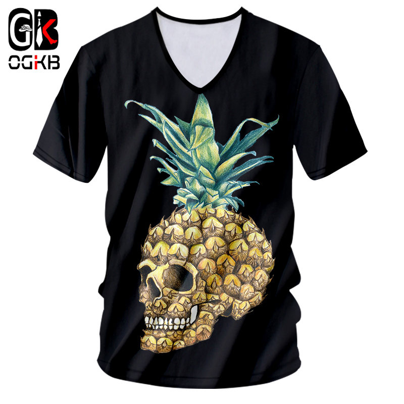 OGKB <font><b>Sexy</b></font> Deep V Neck Tshirt Black New Harajuku Women/<font><b>mens</b></font> Cool Print Pineapple <font><b>3d</b></font> <font><b>T</b></font>-<font><b>shirt</b></font> Man Workout Fitness Casual Tee <font><b>Shirts</b></font> image