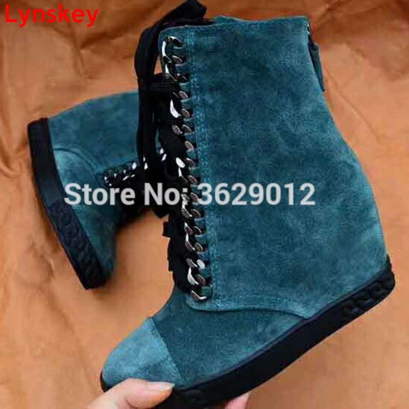 Lynskey Women Back Zipper Hidden Wedge Platform Fashion Ankle Booties Lace Up Metal Chain Height Increasing Short Boots Shoes tie up pompons hidden wedge snow boots