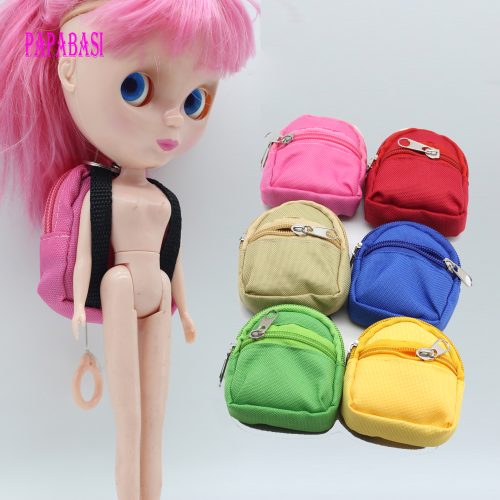 1PCS Dolls Backpack For Barbie Doll For BJD 1/6 blyth doll Bag Accessories 1pcs black sunglasses for american girl dolls as for bjd blyth dolls eyeglasses suit face width about 8cm dolls