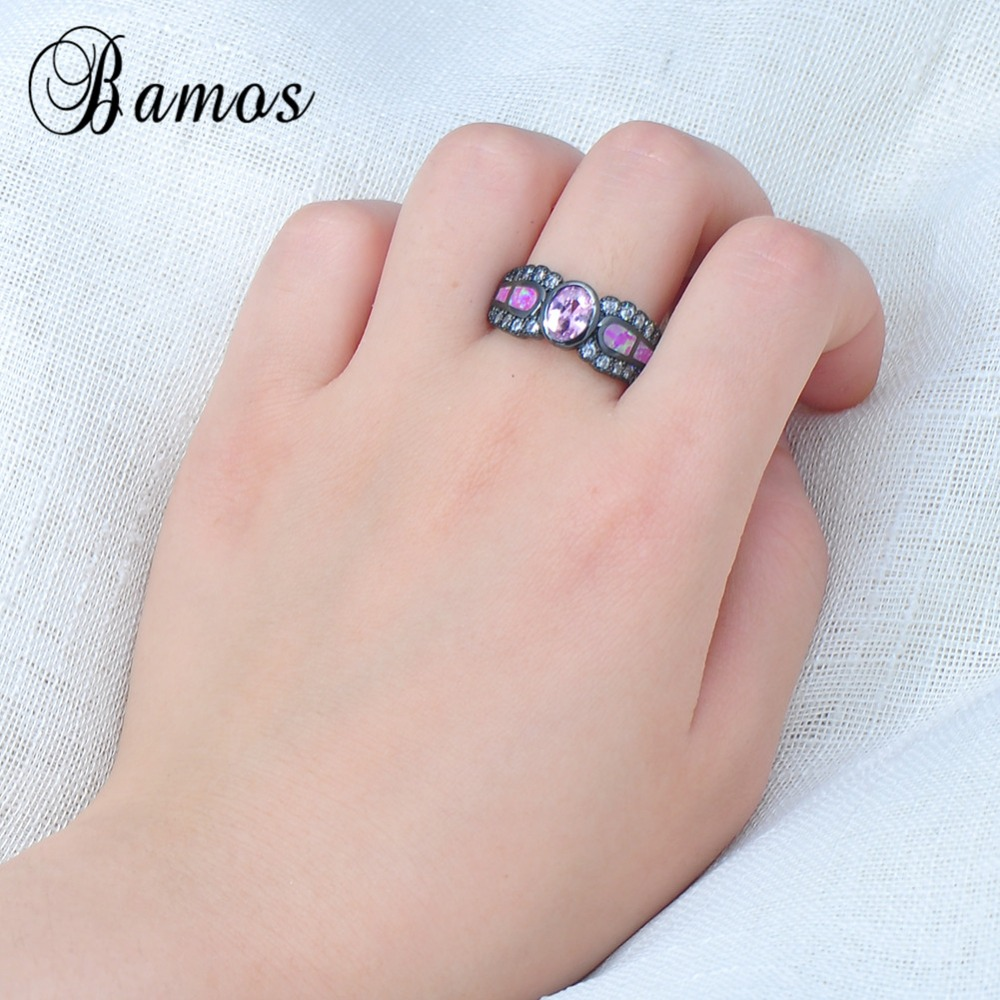 Unique Hot Pink Fire Opal Rings For Women Bohemian Black Gold Filled ...