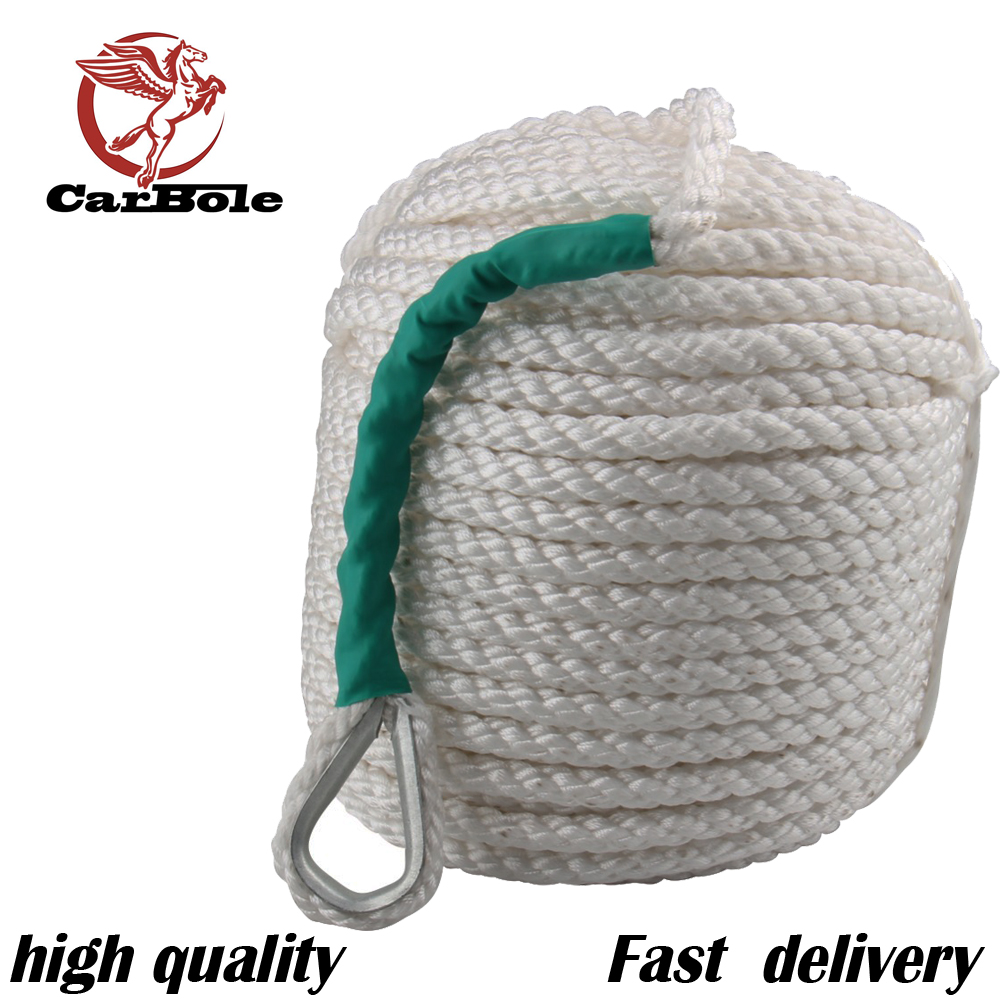 CarBole  1/2x100   1.2CM x  30 M Twisted Three Strand Nylon Anchor Rope Boat with Thimble