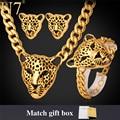 U7 Cool Leopard Head Bracelet Earrings Necklace Set For Women/Men New Trendy Gold Plated Costume African Jewelry Sets S365