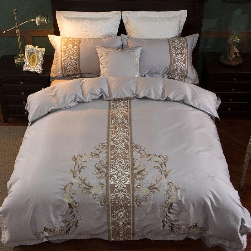 Egyptian long staple Cotton Embroidery 4 Piece Queen Duvet Cover Set with 2 Pillow Shams, Navy Wedding Decor Home Textile