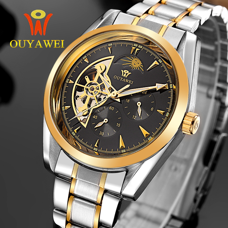 2081a4309 ∞OUYAWEI العلامة التجارية الذهب الميكانيكية الساعات الفاخرة ...
