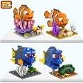 Loz micro subasta de buscando a nemo peces 3d diy ladrillos de construcción bloques de juguete modelo de mini bloques juguetes para niños girls regalos 9726-9729
