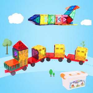 Image 4 - 60pcs Hot Selling Transparent Magnetic Sheet Building Block Set with Wheels Childrens Toys Hot Selling