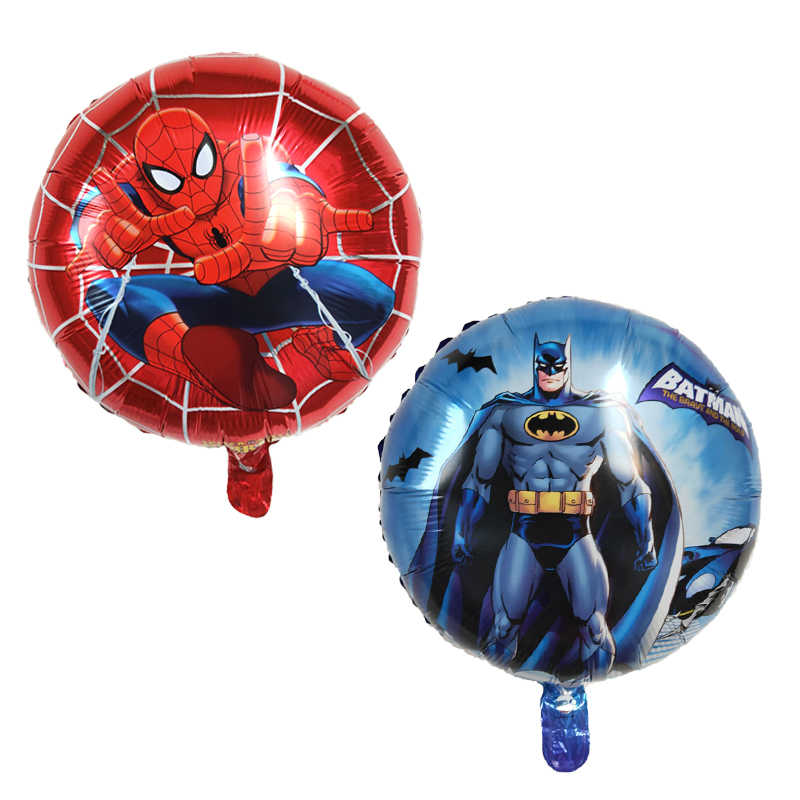 1PC 18inch cartoon superhero Superman Batman Foil balloon birthday party decoration baby shower Globos Kid's inflatable toy