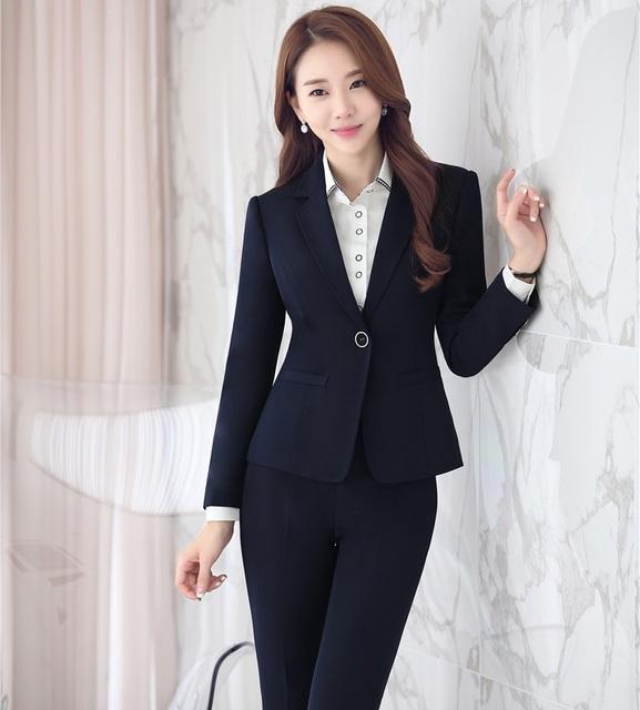 Chegada nova Outono Inverno Profissionais Terninhos Formais Com Jaquetas E Calças De Negócios Senhoras Calças Das Mulheres Conjunto de Roupas