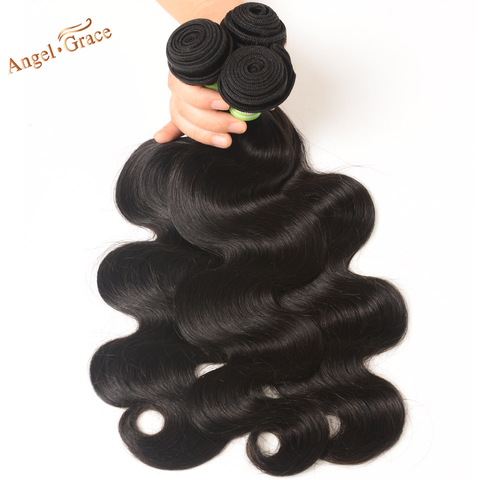 Angel Grace Hair Body Wave Brazilian Hair Weave Bundles 3 Bundles Deal Remy Human Hair Weave