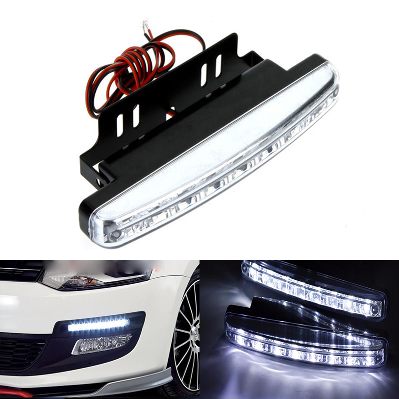 2PCS Xenon White LED Car Auto DRL Parking Driving Daytime Running Lamp Fog Light Head Lamp 8 LED DRL Daylight Kit Super White 1 pair metal shell eagle eye hawkeye 6 led car white drl daytime running light driving fog daylight day safety lamp waterproof
