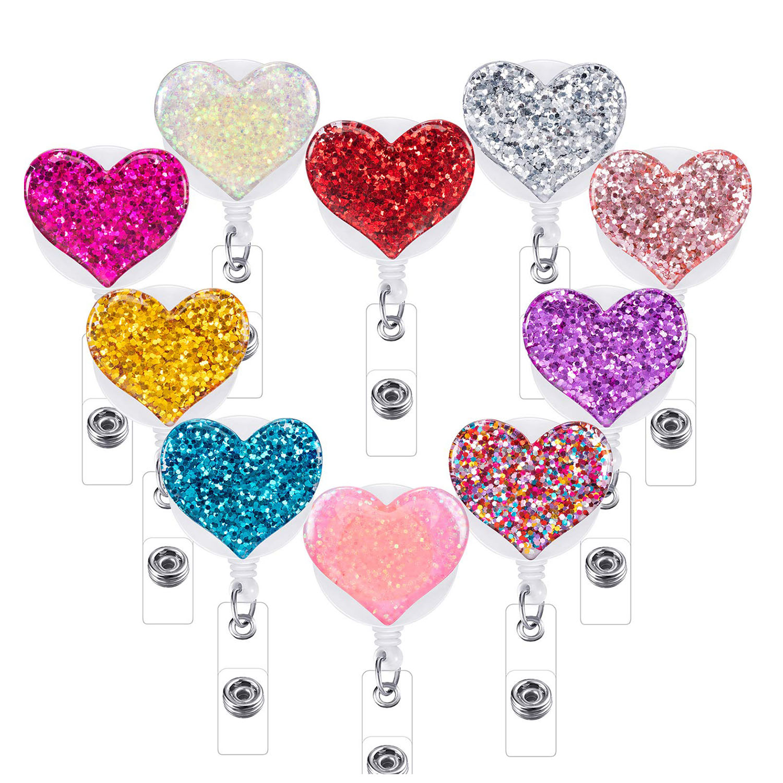 10 Pcs Retractable Badge Holder Bling Love Heart Badge Clips ID Badge Reel Clip On Card Holders Nurse Badge Reel