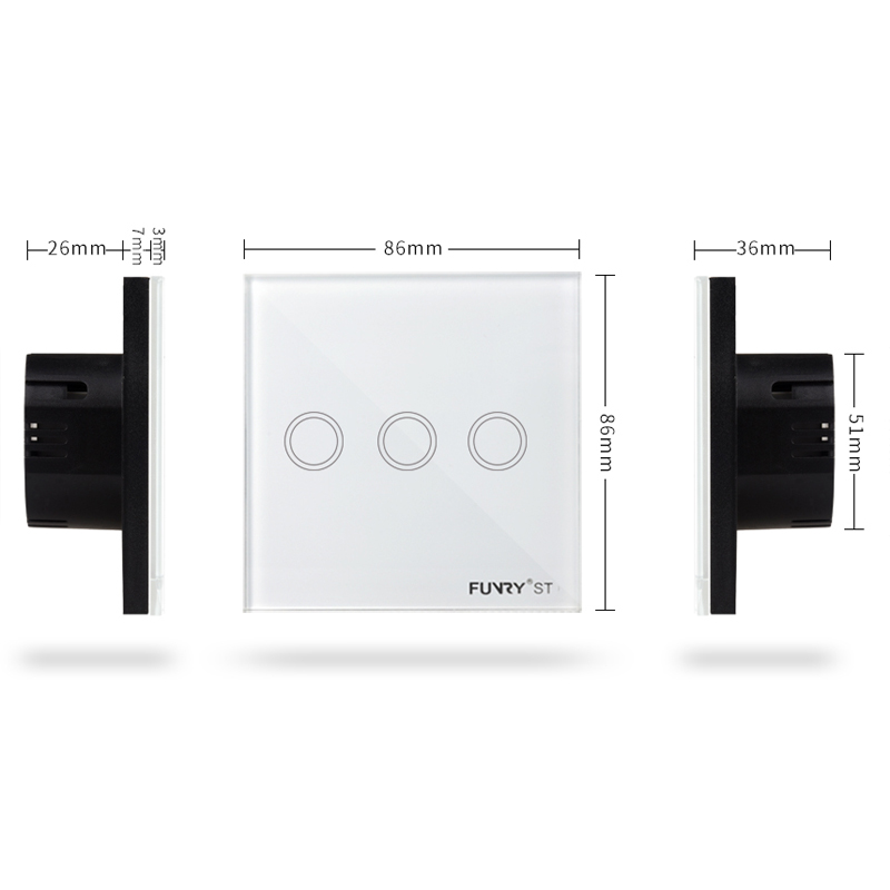 EU Standard 3Gang Remote Control Wall Light Touch Switch Luxury Crystal Glass Panel 170 240V Capacitive Touch Switch in Switches from Lights Lighting