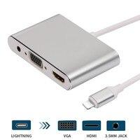 Yeni Yıldırım Için HDMI VGA Jack Ses TV Adaptörü Kablosu Için iPhone X iPhone iPad Için 8 7 7 Artı 6 6 S Serisi