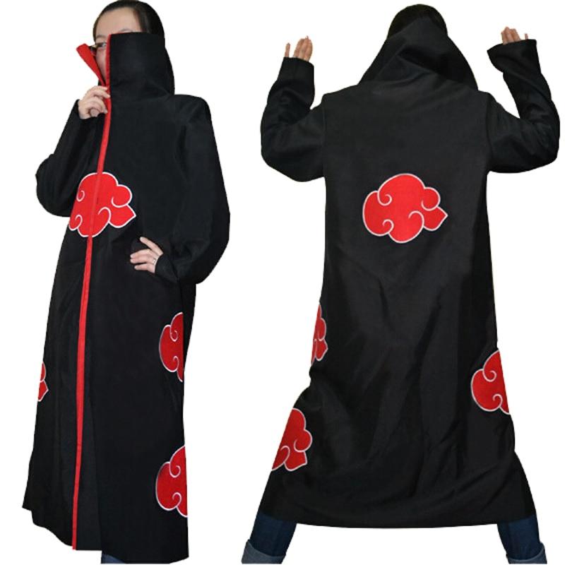 Halloween Coustume Hot Selling Naruto Cosplay Costume Naruto Akatsuki Uchiha Itachi Cosplay Cloak Hooded Plus Size (S-2XL) WA305