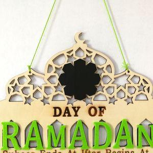 Image 4 - 1 conjunto islam ramadan contagem regressiva para eid mubarak advento de madeira pendurado placa mensagem casa diy decorações artesanato festa suprimentos