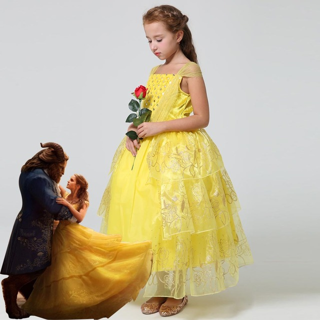 2018 New Movie Beauty And The Beast Princess Belle Kids Cosplay