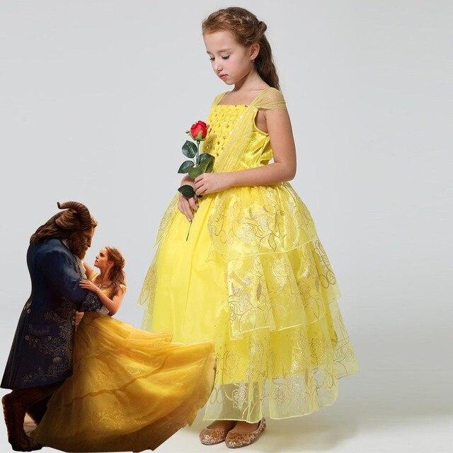18a7fab6d3 2018 la nueva película de belleza y la Bestia princesa Belle niños cosplay  traje chica amarillo