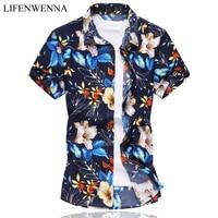 High Quality Mens Flower Shirt 2017 Summer Male Short Sleeve Shirt Casual Mercerized Cotton Slim Fit Shirts Men Plus Size 6XL