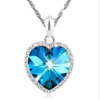 The Titanic Was The Heart Of The Ocean Silver Heart Necklace With Crystal Pendants Female Birthday