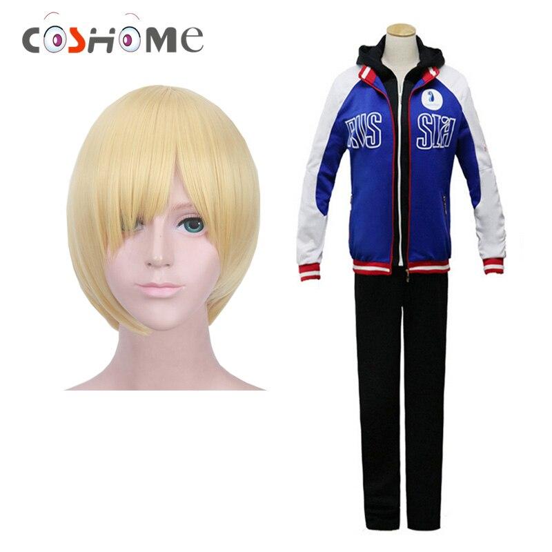 Coshome Yuri On Ice Wigs Yuri Plisetsky Cosplay Costumes Sportswear Blue Jacket Spring Coat Adult Tops Pants Set