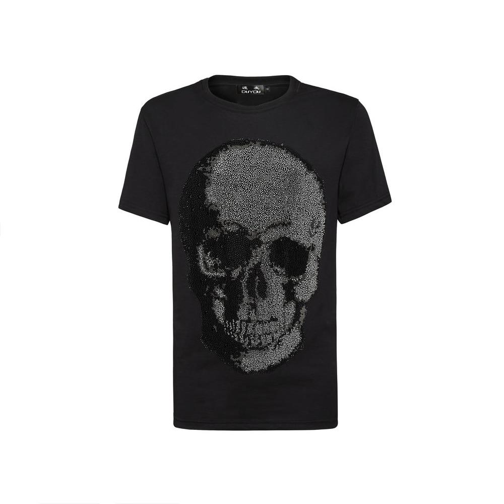 PP Bag Packaging!Mens Designer T Shirt Men Short Sleeves Tshirt Man Cotton Top Tees Male Summer Rhinestone Big Skull T Shirts