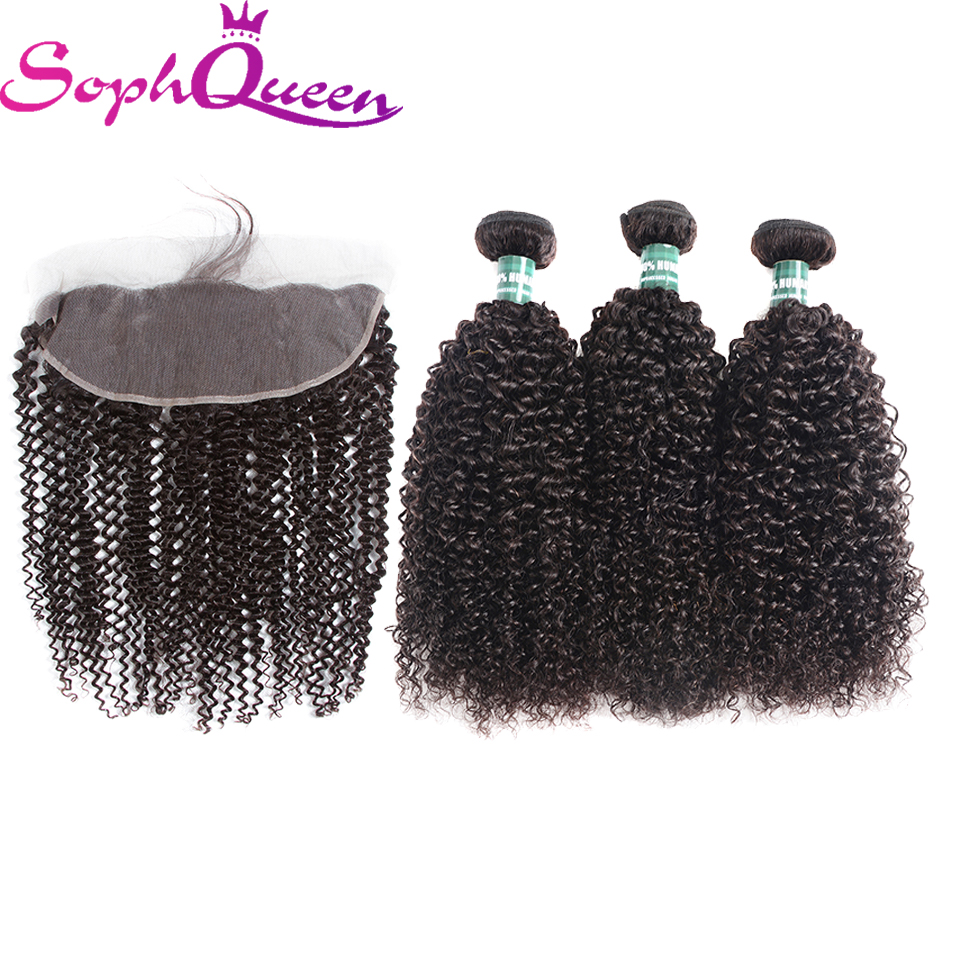 Soph Queen Hair Peruvian Remy Hair Bundles With Closure Kinky Curly Bundles With Lace Frontal Closure