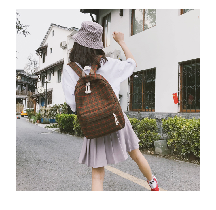 HTB1MIkRa81D3KVjSZFyq6zuFpXaX 2 Pieces Japan style Plaid Style Women Backpack Pencil Case Student Girl School Bag Travel Shoulder Bag For Women 2019 Bagpack