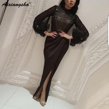 Black Muslim Evening Dresses 2019 High Neck Mermaid Beading Long Sleeve Islamic Dubai Saudi Arabic Long Evening Gown Prom Dress
