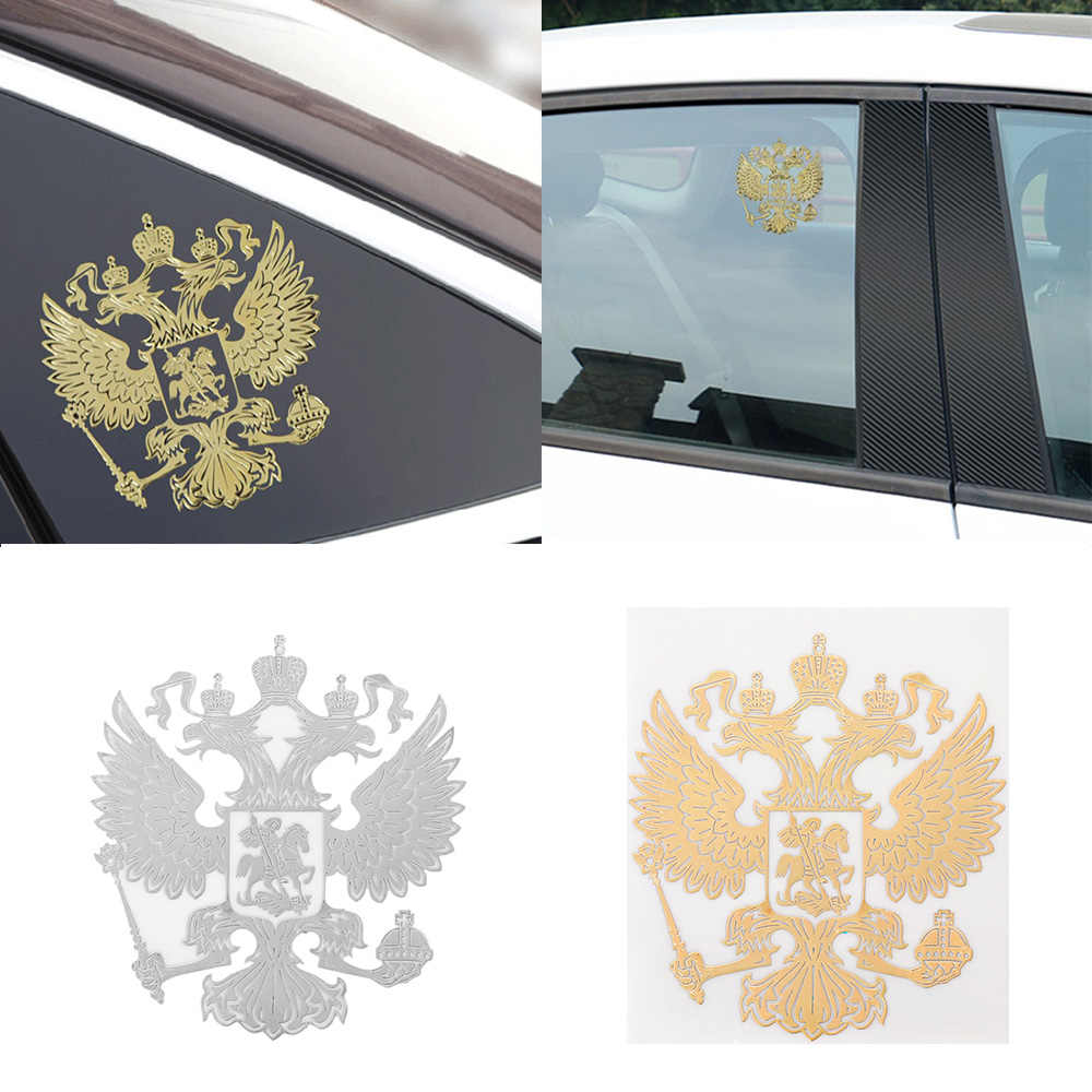 Universele Wapen Van Rusland Nikkel Metalen Auto Stickers Decals Russische Federatie Eagle Embleem Voor Auto Styling Laptop Sticker