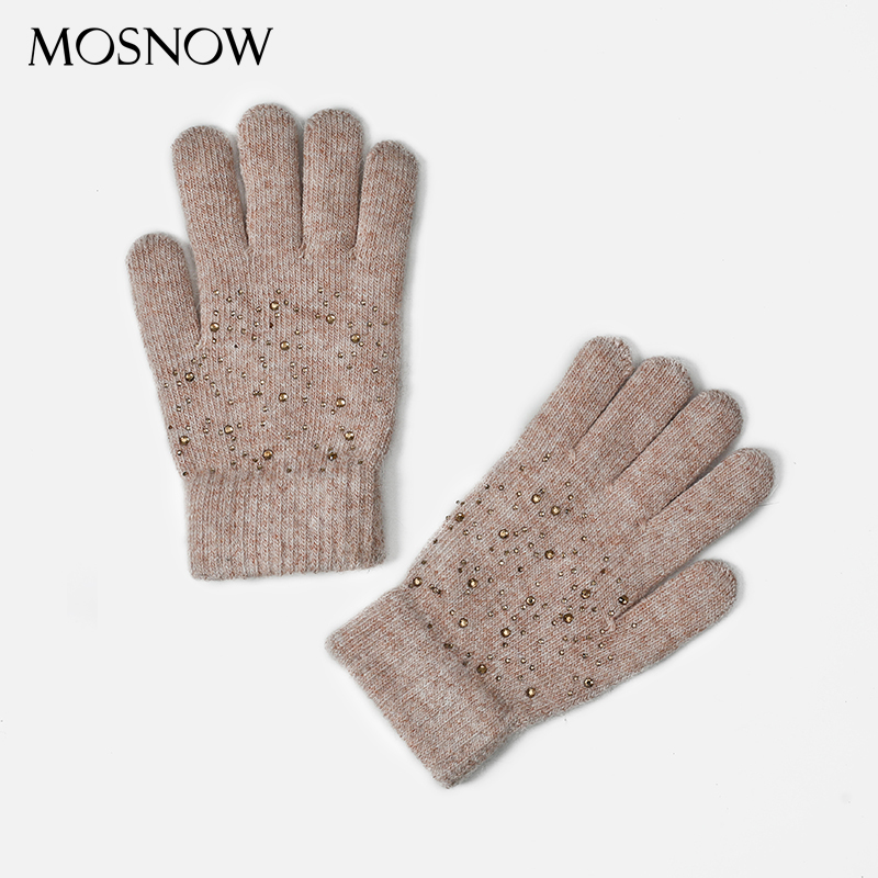 Winter Female Glove Women Rabbit Fur Knitted With Rhineston Gloves 2019 New Popular Design Ladies Thicken Warm Wool Solid Gloves
