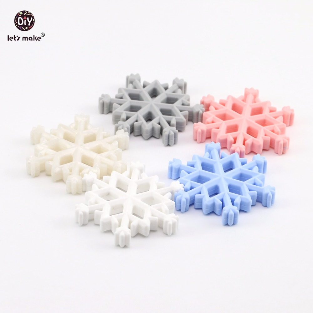 Lets Make Baby Teether Jewelry 5pcs Christmas Snowflakes DIY Accessories Nursing Teething Necklace Food Grade Silicone Teether