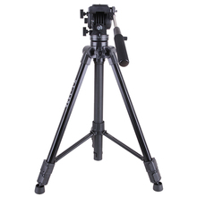 Skilled Aluminum Video Digicam Studio Photograph Tripod with Fluid Head for movie video taking pictures Max Loading 22lb Kingjoy VT-150