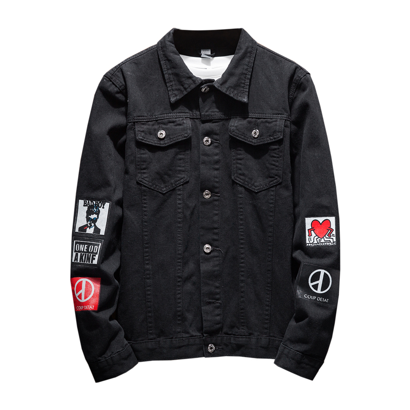 Big size 5XL Men Black Jean Denim Jackets Mens Spring autumn Cotton Coats 2018 Fashion printing men slim fit denim jacket brand