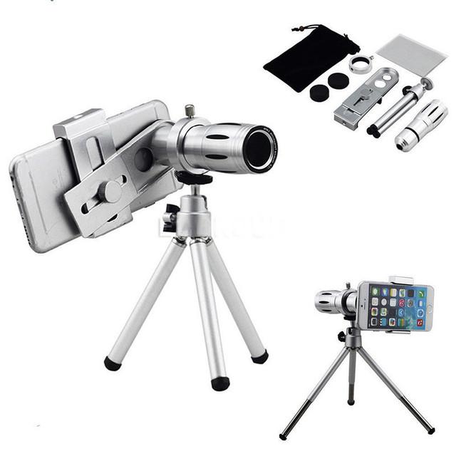 Alta Calidad 12x Zoom Telescopio Lente de Teleobjetivo Óptico de Lentes de Cámara Del Teléfono clips trípode móvil para iphone 5s 6 6 s 7 plus xiaomi