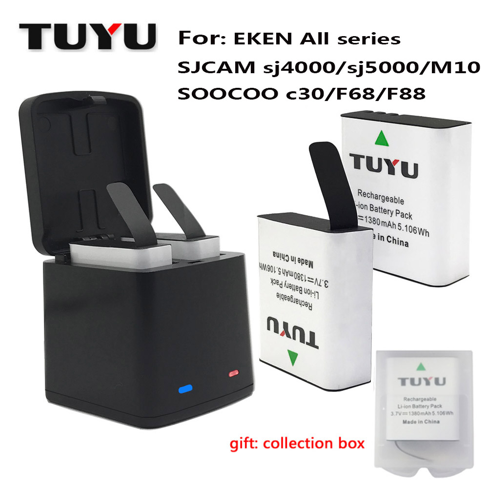 TUYU Sports Camera Accessories 1380mAh Rechargeable Action Camera Battery with USB Dual Battery Charger for Eken H9 H8R H6S H5S tuyu aluminum alloy rugged cage protective case for eken h8r h5s h6s h9r plus v50 gopro hero 4 3 camera with go pro uv lens cap