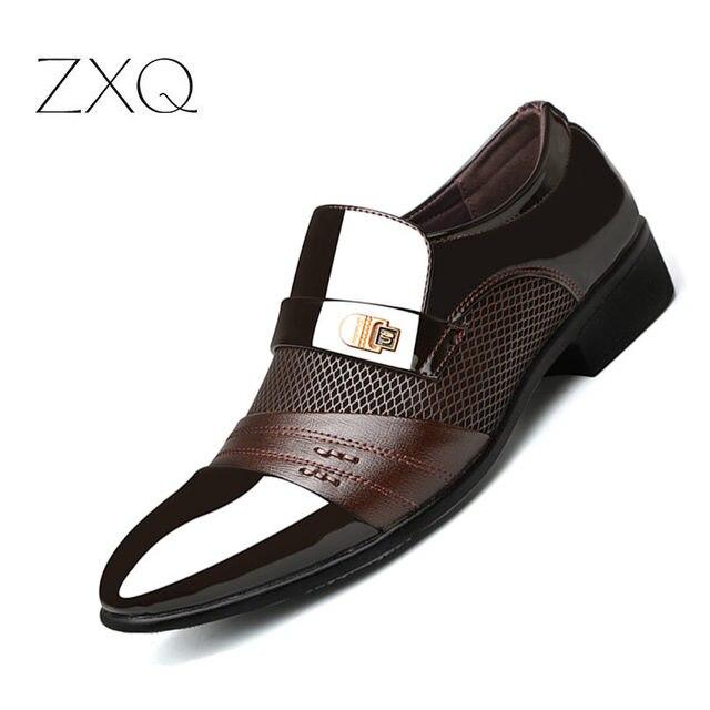 Summer Men Dress Shoes Plus Size Men Formal Flat Shoes Black Brown Breathable Slip On Men Business Office Shoes