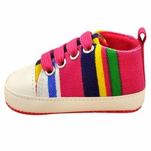 Kids Baby Boy Girl Soft Sole Shoes Cotton Carvan Sneakers Laces Crib Shoes