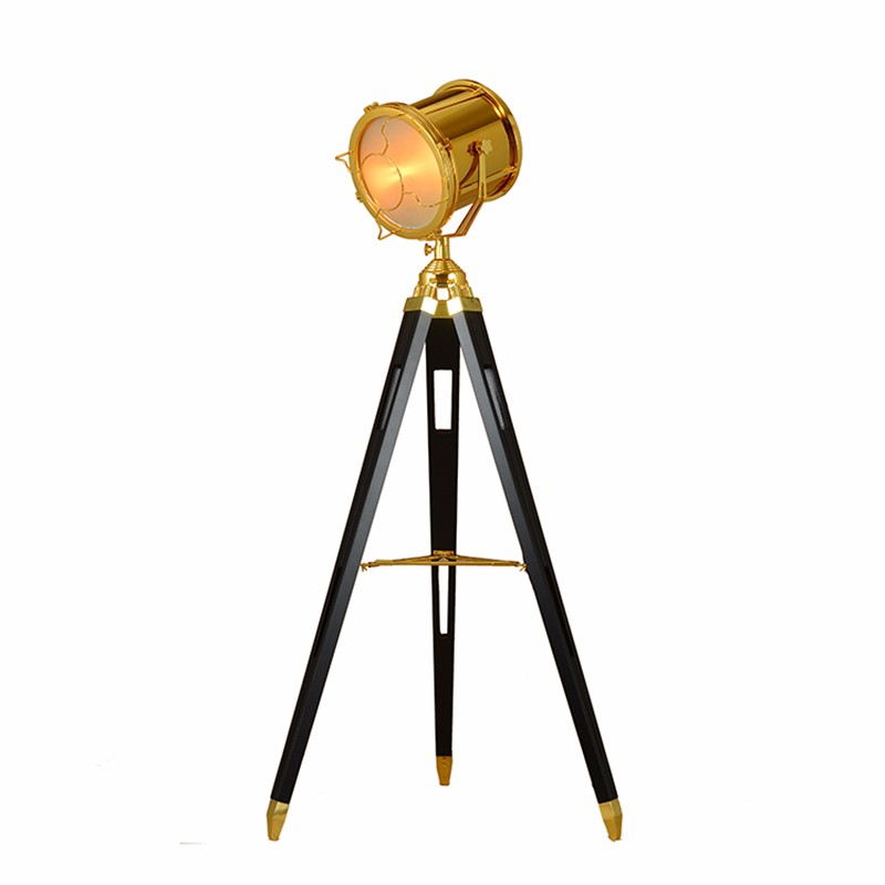 Post modern tripod antique floor lamp searchlight living room bedroom archaize wood holder individual gold chrome standing lamp