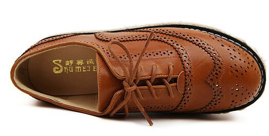 d047dcacb6c 2015 Vintage Oxford Shoes For women Brown PU Leather Flat Platform Creepers  Shoes Woman Flats F299 Free Shipping-in Women s Flats from Shoes on ...