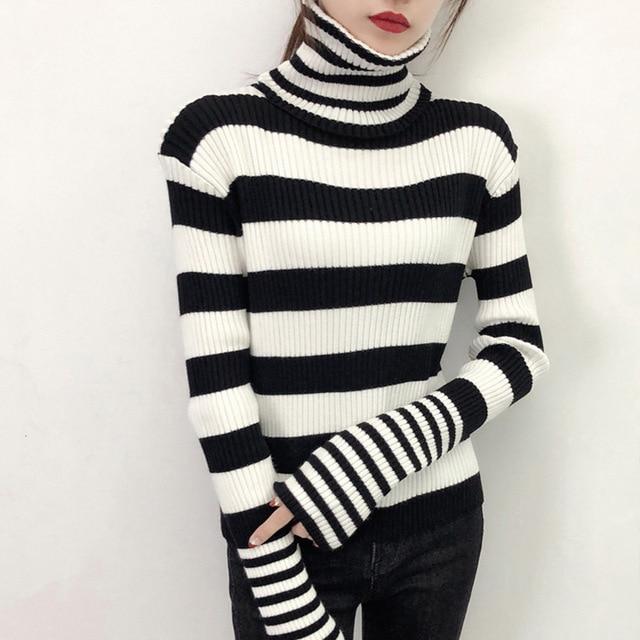 New style womens knitting sweater 2018 winter women pullover sweater ladies  black white striped turtleneck sweater women CS743 3c89fd25f