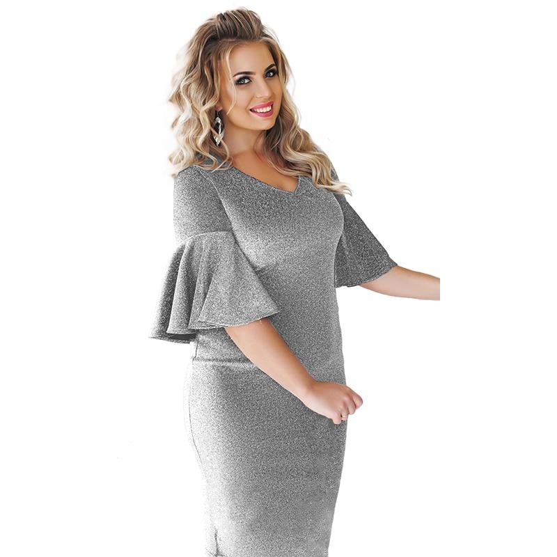 ee601076de4a ... 2018 Spring Big Sizes Sequin Plus size Women Clothing Winter Evening  Party Dress White Dress Ruffles ...