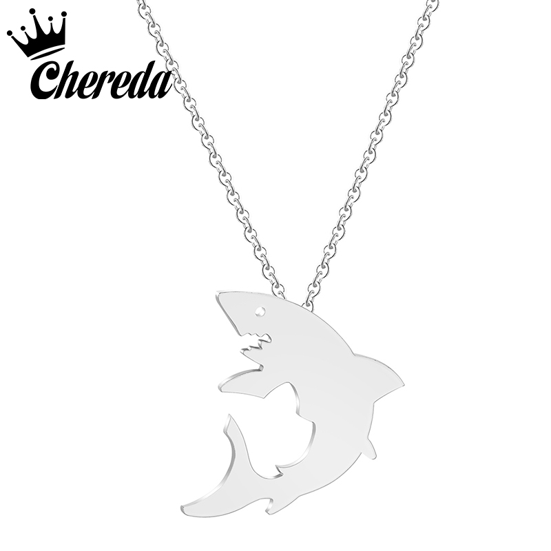 Chereda Stainless Steel Necklace For Women Man Lovers Animal Gold Silver Color Pendant Engagement Jewelry